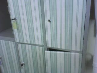 Papel de parede nas portas do armário de metal