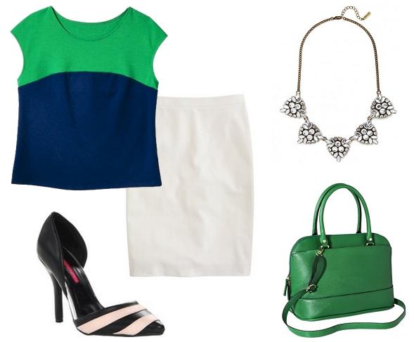 Green Satchel, Greet Target Stachel, Kelly Green handbags, Zara Pencil Skirt, Striped Pumps