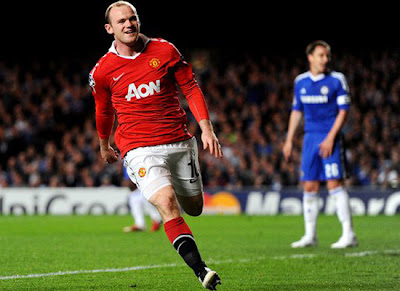 Man Utd champions league quarter finals Wayne Rooney Celebration goal