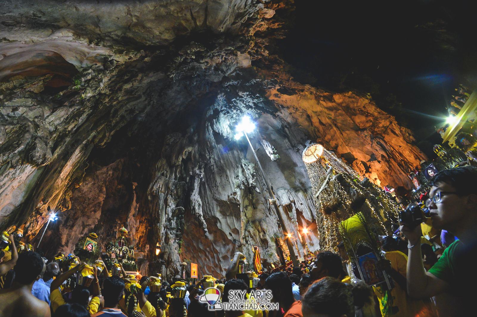 The interior of Batu Caves during Thaipusam 2015