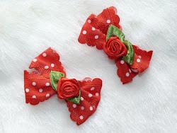 polka dot bow with rose hairclips