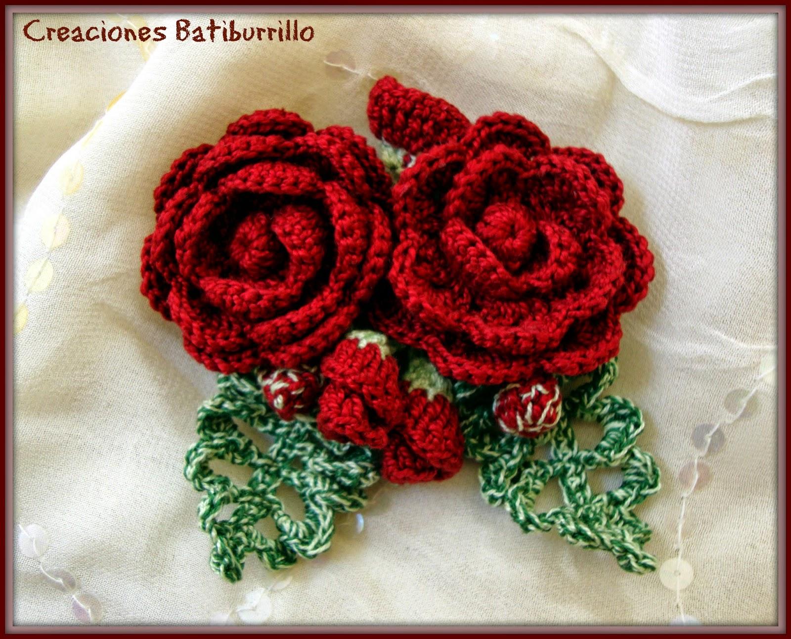CREACIONES BATIBURRILLO: BROCHE ROSAS ROJAS CROCHET