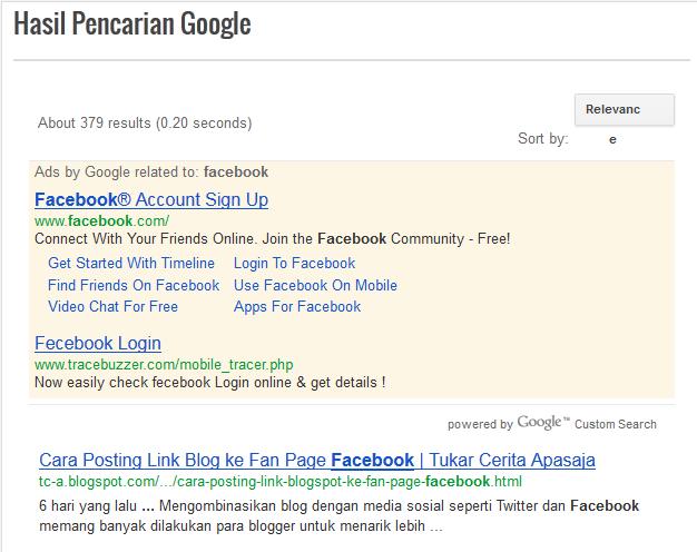 Tampilan halaman Google CSE monetasi Adsense