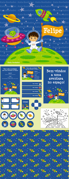 "Ilustrao para kit digital ""FESTA DO ASTRONAUTA"". Na LOJA DA BONFA!"