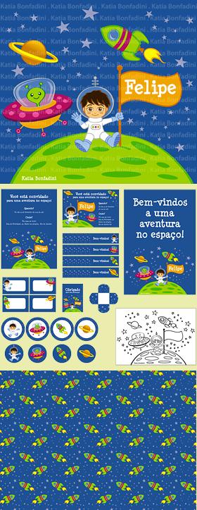 """Ilustração para kit digital """"FESTA DO ASTRONAUTA"""". Na LOJA DA BONFA!"""