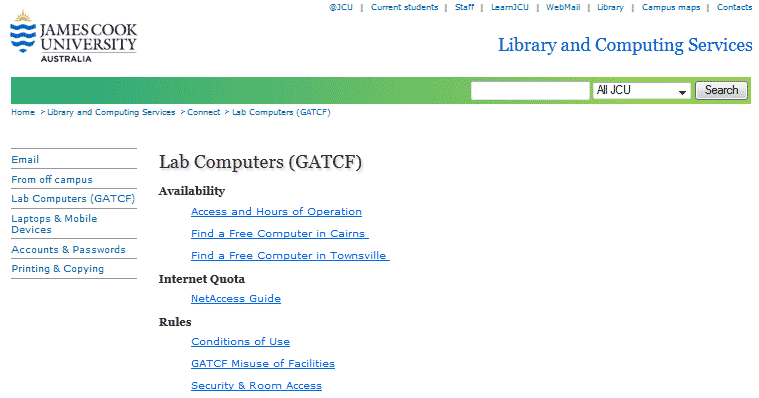 GATCF Web page screen capture
