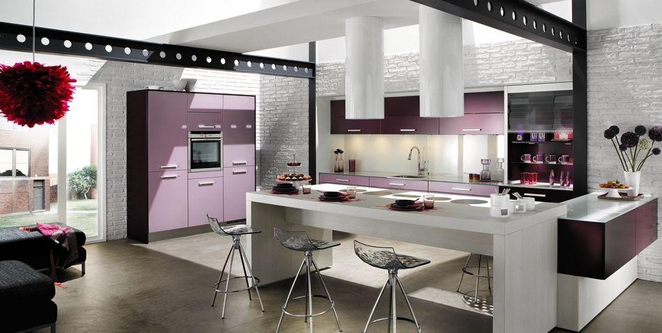 El color p rpura en la cocina cocinas con estilo - Cocinas muy modernas ...
