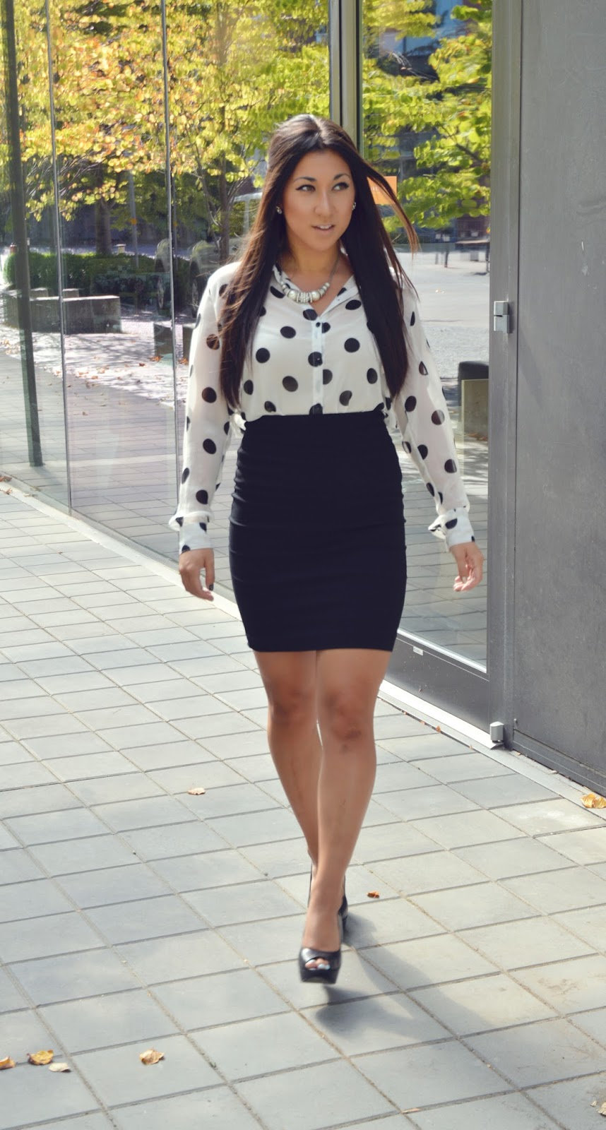 business casual polka dots