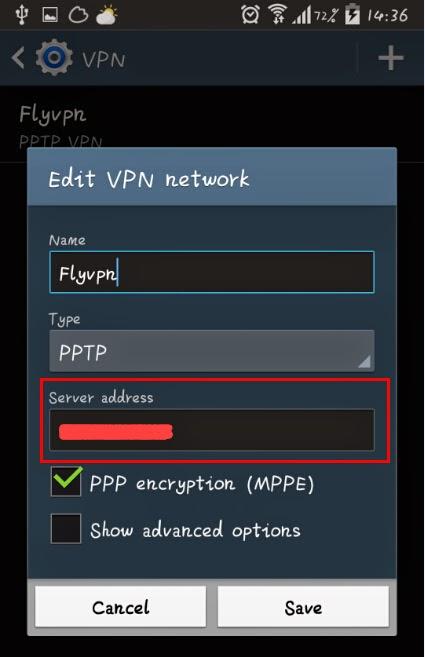 Entrer l'adresse IP du serveur VPN