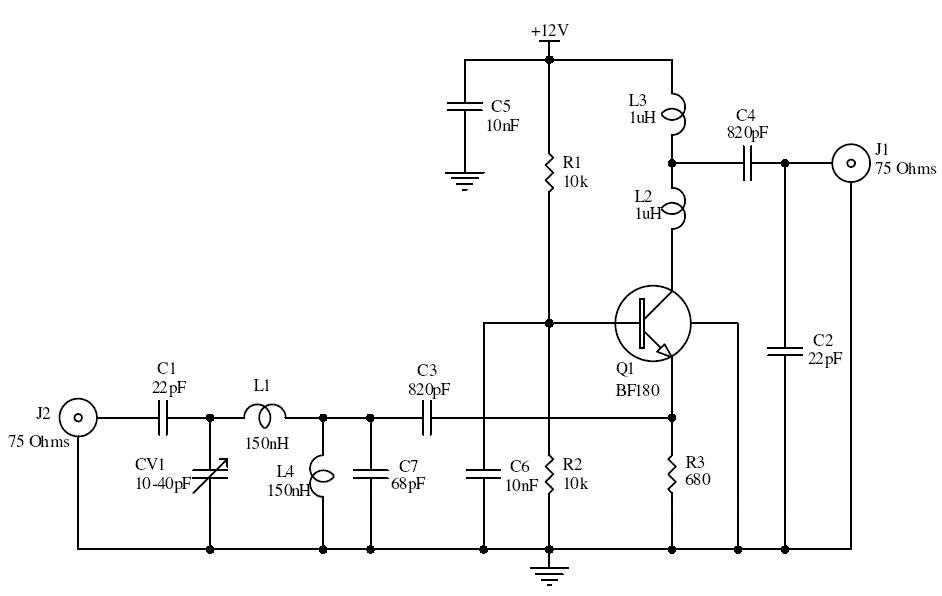 15db uhf tv antenna booster circuit