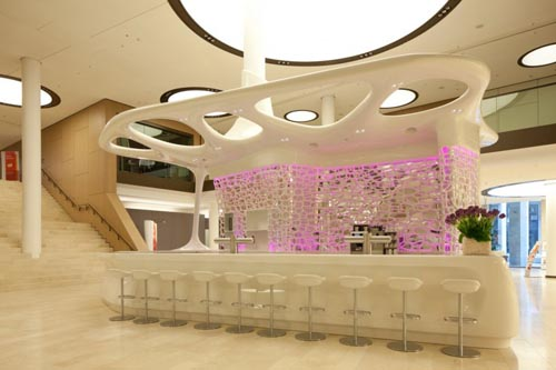 Stylish Pink Lighting Decorating Design for Modern Reception and Cafe Desk