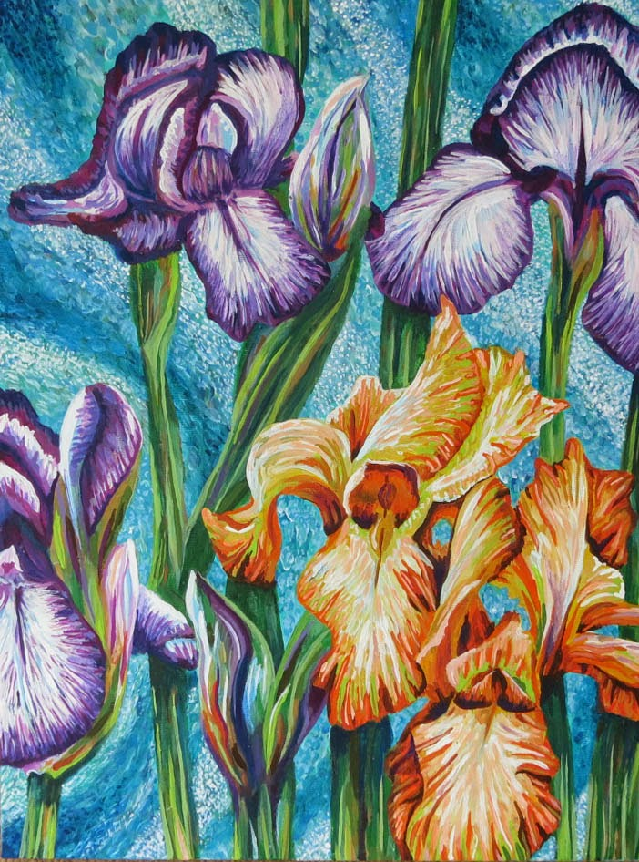 Rozartz contemporary floral paintings acrylic painting of for Floral acrylic paintings