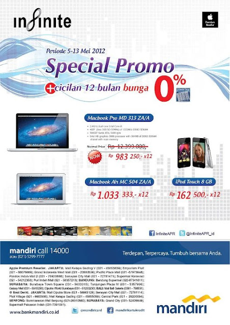 Promo diskon Macbook Pro, Macbook Air & iPod Touch