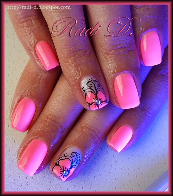 It`s all about nails: Neon Pink gel polish with Flower