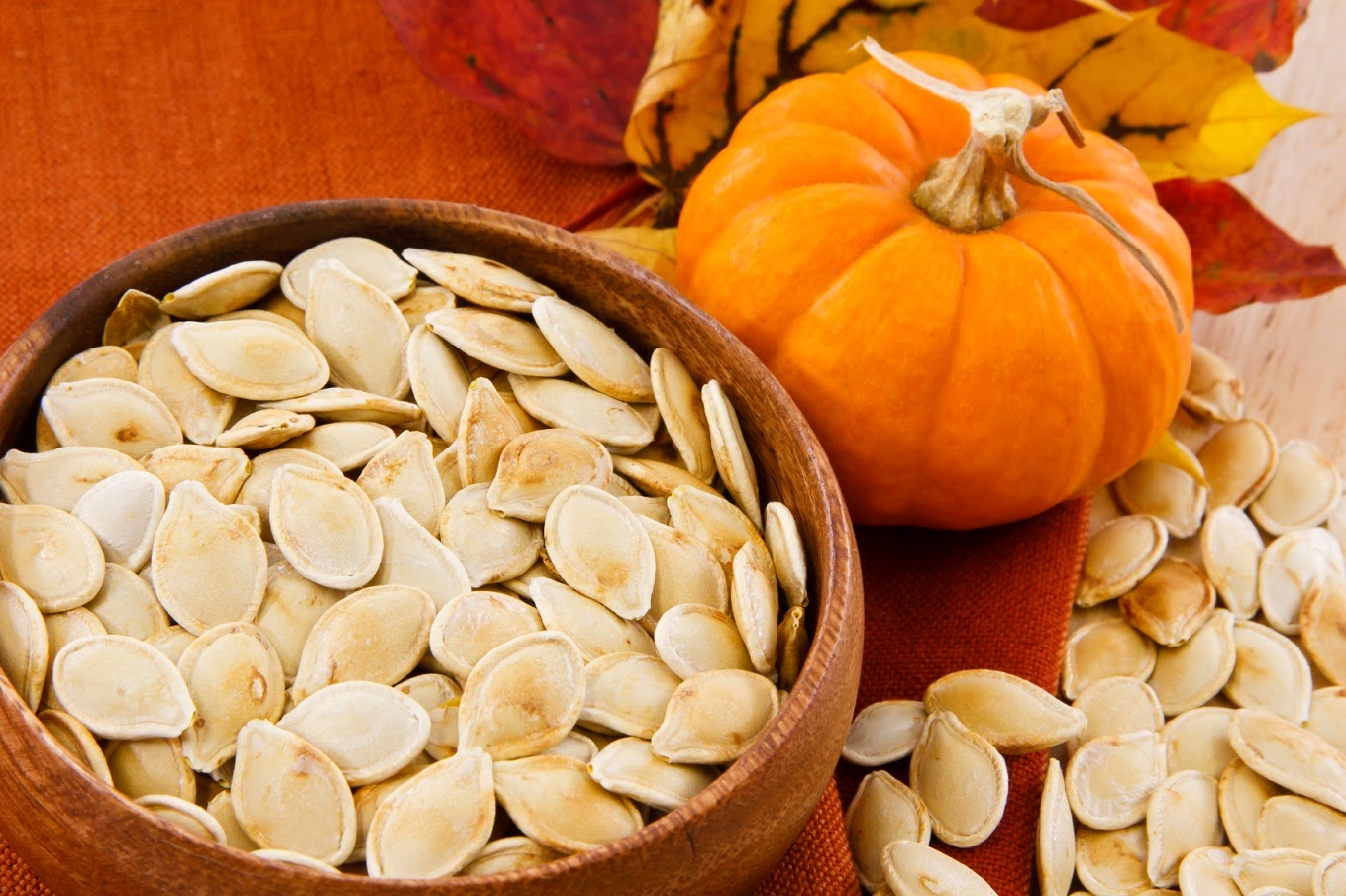 Pumpkin seeds in container