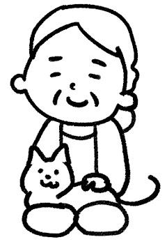 おばあさんのイラスト「おばあさんと猫」 白黒線画
