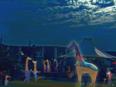 Nextra-terrestrial giraffe party at Clacton Factory Outlet Essex