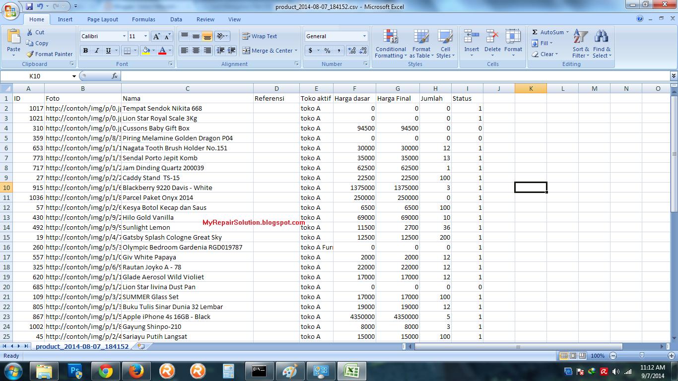 File CSV Teratur