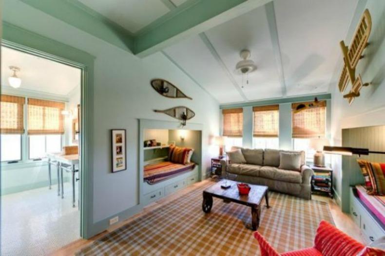 coastal loft and bedroom
