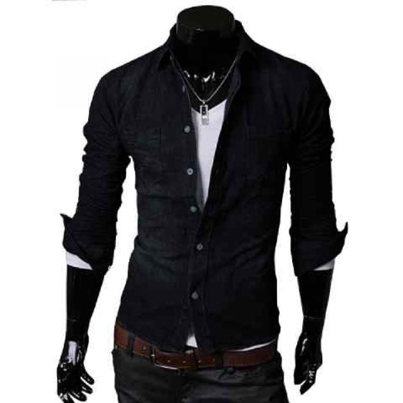 Kemeja Hero Black. Murah di Jakarta Warna Hitam Bahan Semi Jeans Keren