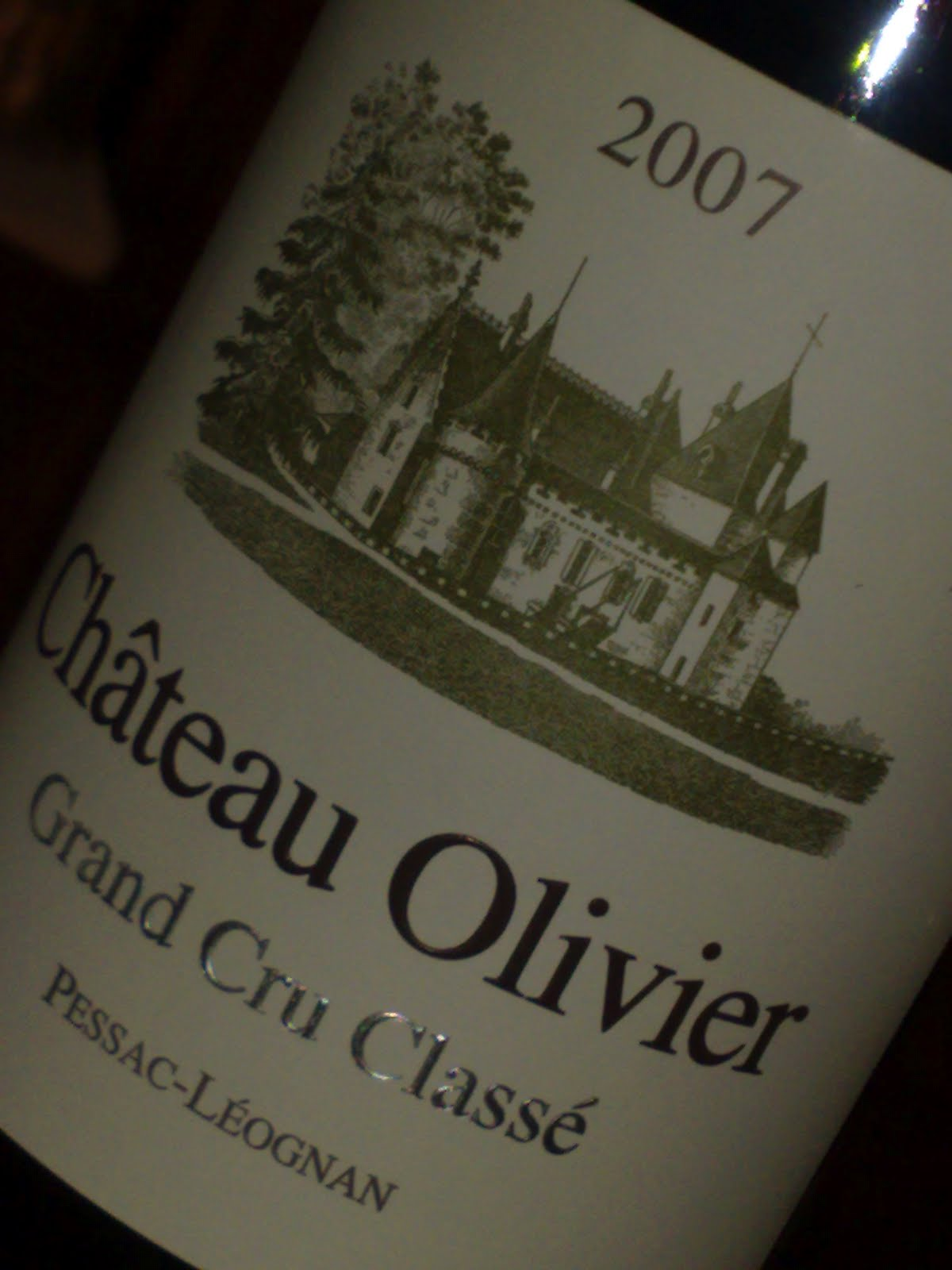 My wines and more 2007 ch teau olivier blanc for Chateau olivier