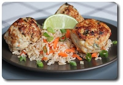 Asian Turkey Meatballs with Carrot Rice (Adapted from Everyday Food)