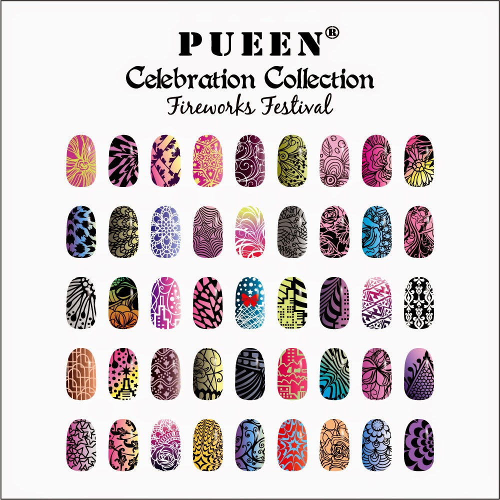 Lacquer Lockdown - Pueen Cosmetics, Pueen, Pueen Celebration Collection, Pueen Fireworks Festival, XL nail art stamping plates,, nail art stamping blog, nail art stamping, diy nail art, cute nail art ideas,