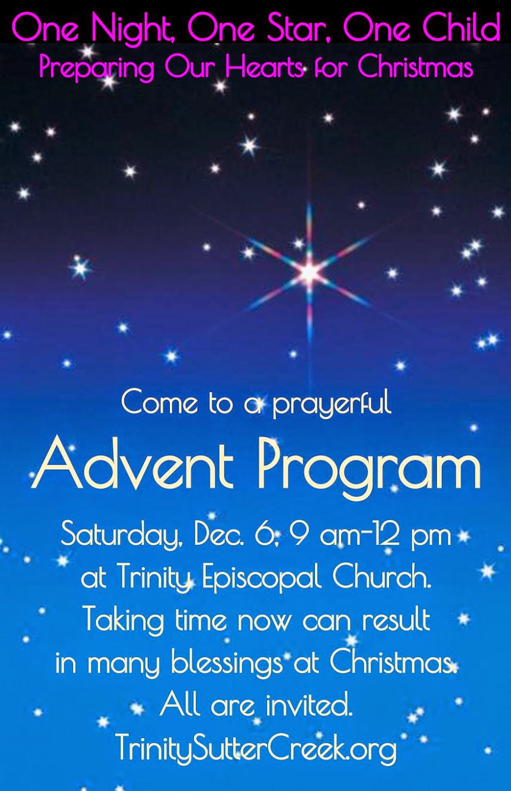 Advent at Trinity: One Night, One Star, One Child - Sat Dec 6