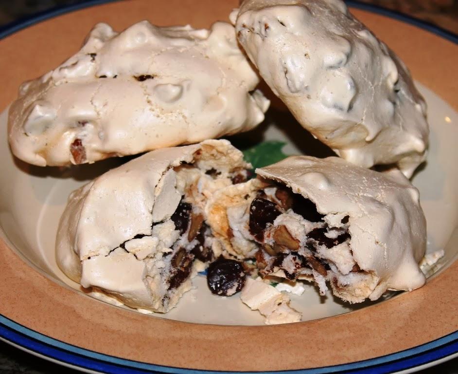 Chocolate-chip pecan meringue cookies