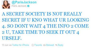 mensaje de paris jackson sobre una sociedad secreta