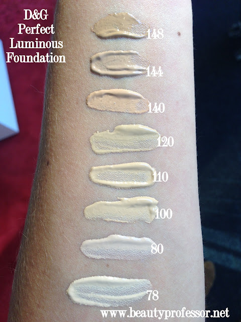 Dolce and Gabbana Luminous Foundation Swatches