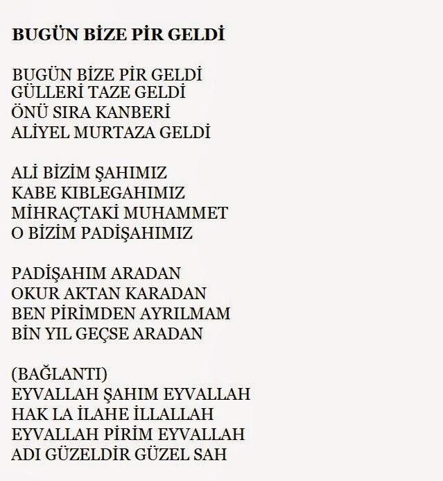 Bugün bize pir geldi, türküler, türkü sözleri