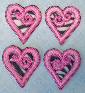 Swirled Hearts with Zebra Print Felties  by LilBitSassy