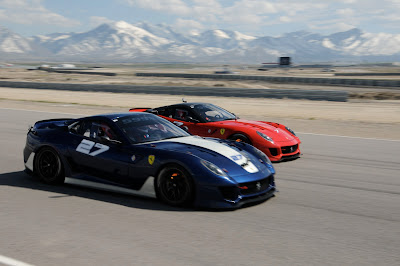 2 Ferrari 599XX's - one red and one blue