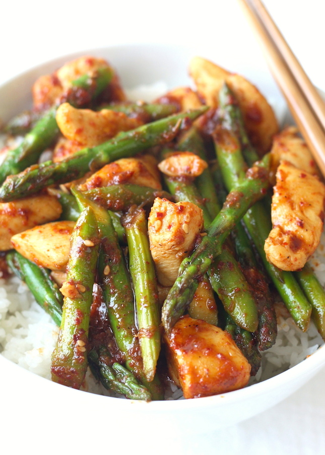 Korean Chicken Stir Fry recipe with Asparagus by SeasonWithSpice.com