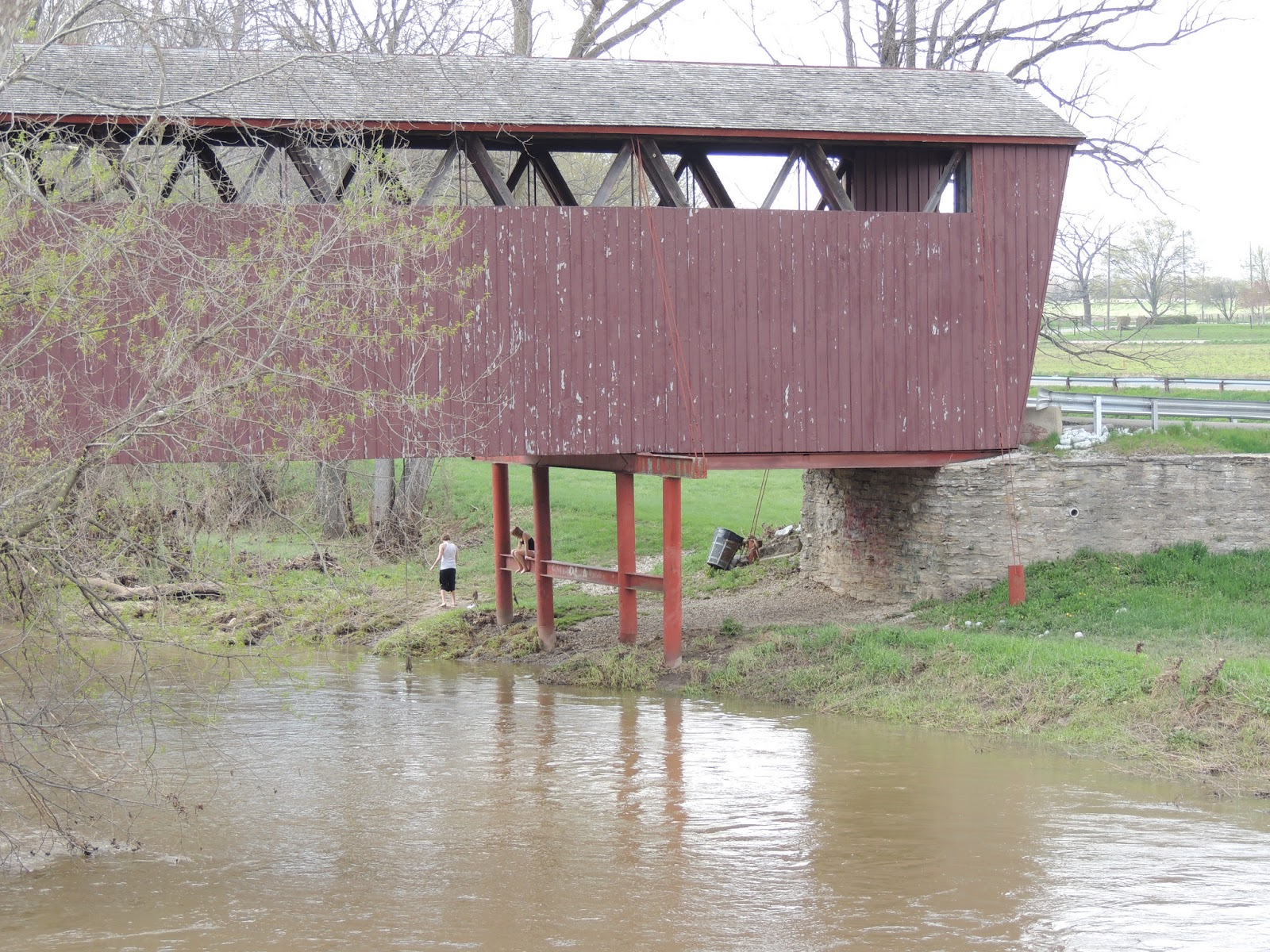 same with the roann covered bridge there were kids playing under it the bridge could use a good coat of paint