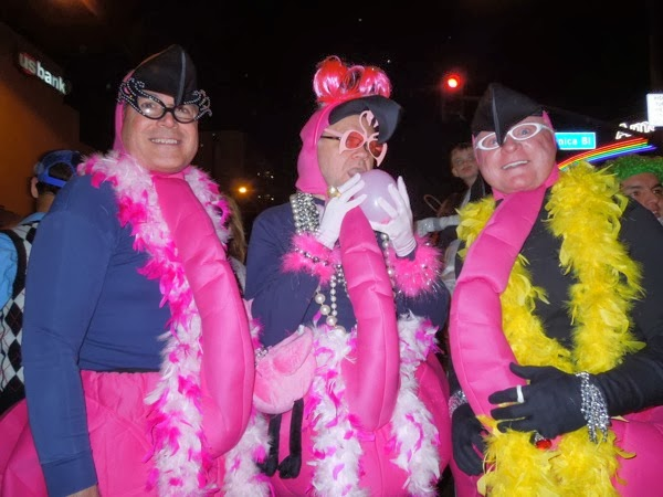 Pink flamingo costumes West Hollywood Halloween 2013