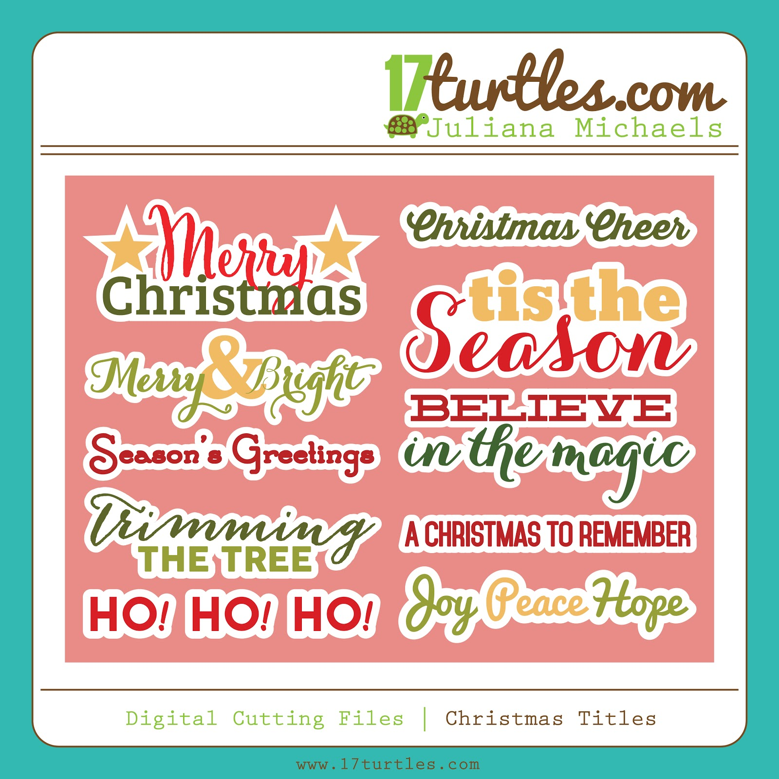 17turtles Digital Cut Files Christmas Titles