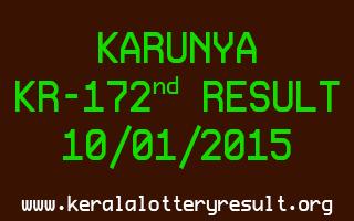 KARUNYA Lottery KR-172 Result 10-01-2015