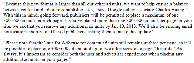 Google New Adsense Policy 300×600