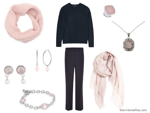 How to wear Pantone Color of the year 2016 Rose Quartz with a navy outfit.