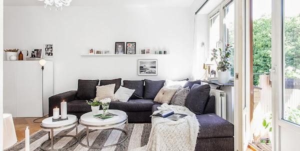 Salones gris y blanco decorar tu casa es - Piso blanco y gris ...