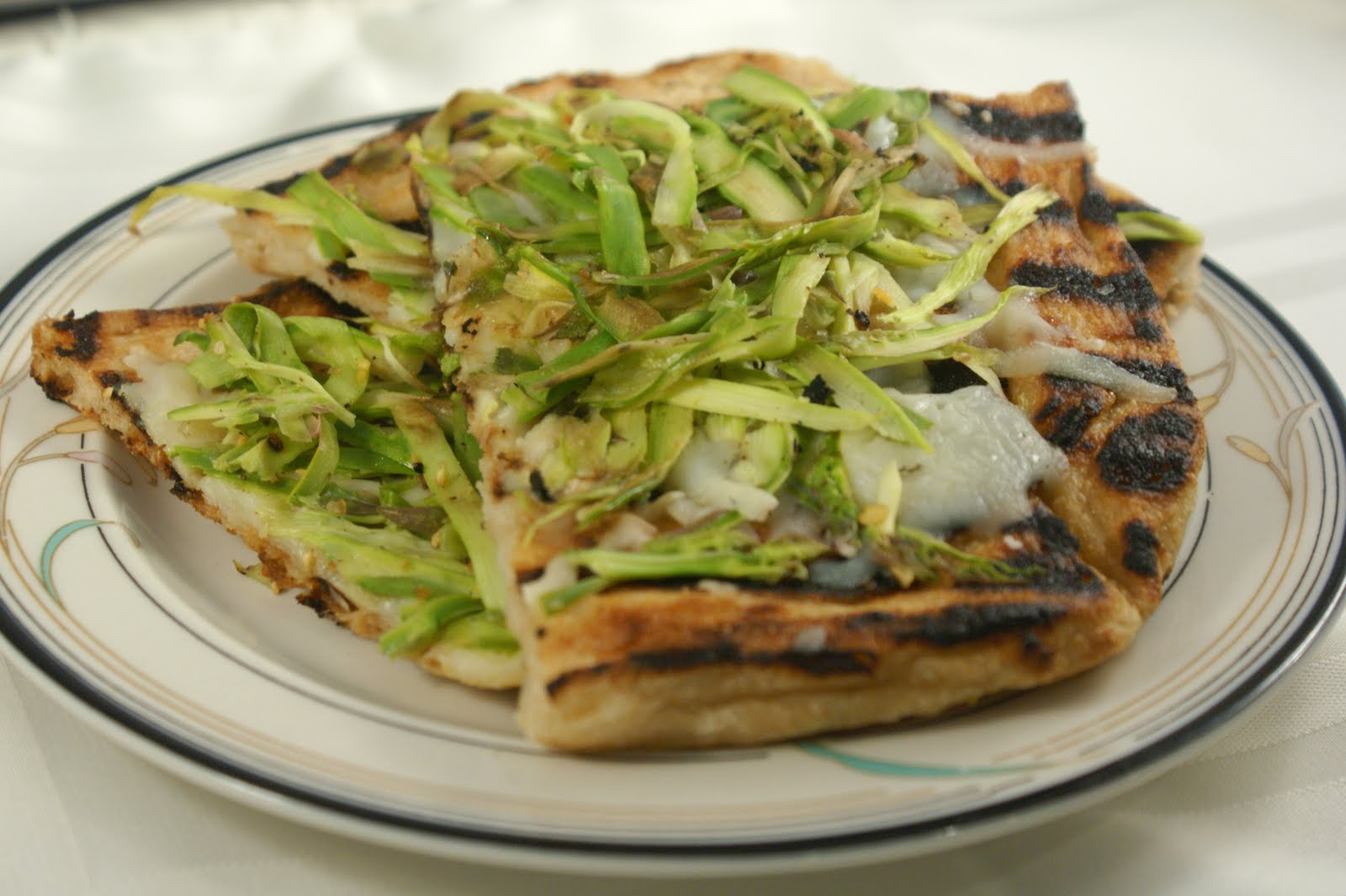 Bananas For Bourbon: Grilled Shaved Asparagus Pizza