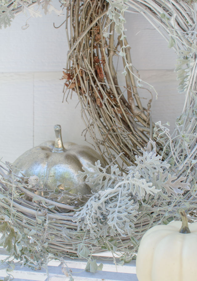 fall display in white and silver