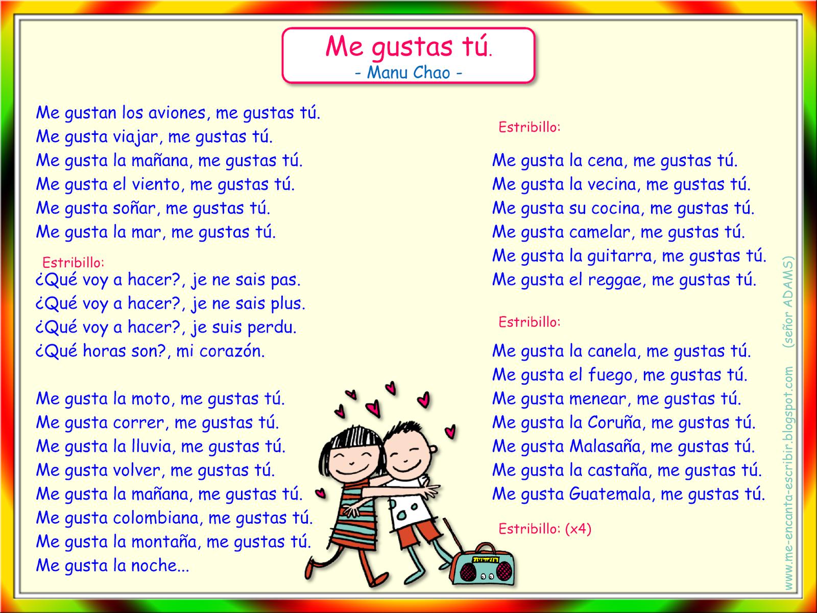 Me encanta escribir en español: Canción: Me gustas tú ...