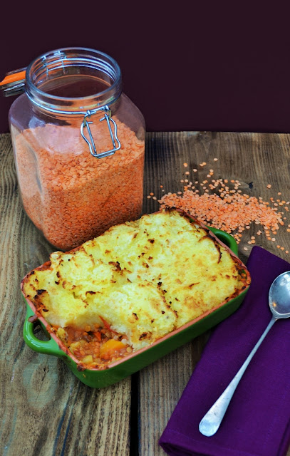 Veg Box Lentil Shepherd's Pie, a simple but comforting family dish. Great for using up leftover vegetables or for making the most of your weekly veg box. Suitable for vegetarians, vegans and those with a hearty appetite.