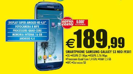 Nel volantino Auchan Galaxy S3 Neo a 189,99 euro in sottocosto