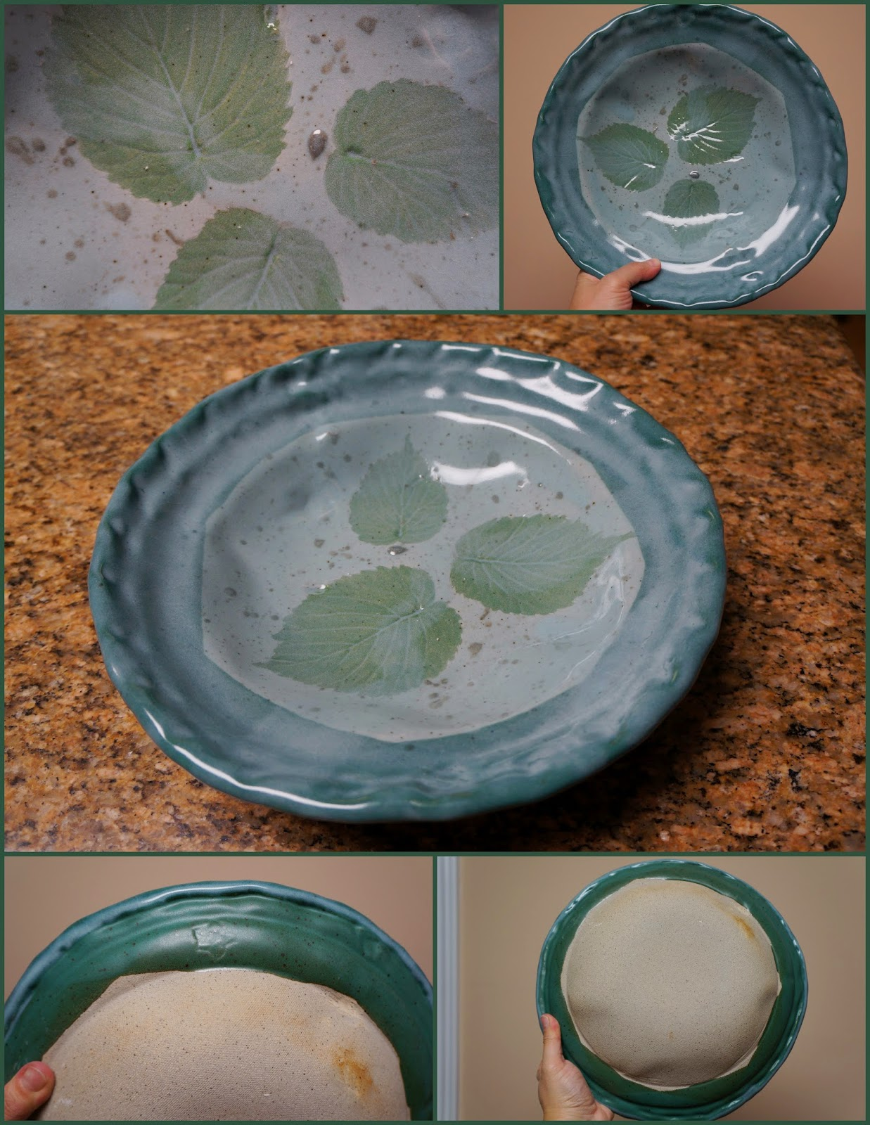 Handmade ceramic bowl with pressed leaves.