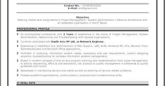 Sample Network Engineer Resume