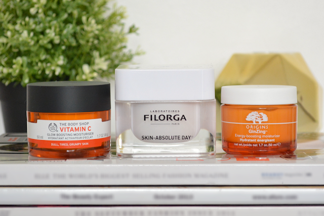 Filorga skin-absolute day cream, Origins GinZing energy boosting moisturizer, The Body Shop vitamin C glow boosting moisturiser, Skincare, Review